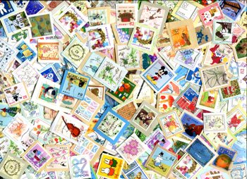JAPAN. Commemoratives only, primarily from 201 through 2017. Mostly closely clipped. ≈ 125 STAMPS/OZ . Received JAN 2020